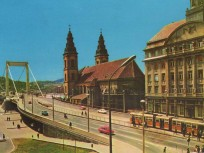 1970, Március 15. tér, Erzsébet híd és a pesti hídfő, 5. kerület