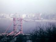 1963, az épülő Erzsébet híd a Döbrentei tér felől, 1. kerület