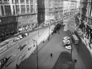 1961, Felszabadulás tér (Ferenciek tere) és a Kossuth Lajos utca a déli Klotild palotából nézve, 5. kerület