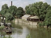 1963, a Hajógyári-sziget emelőhídja, és a Remmel-híd az Árpád hídról nézve, 3. kerület