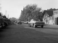 1971, a Mosonyi utcai rendőrség udvara és garázsai a Lóvásár utca felől