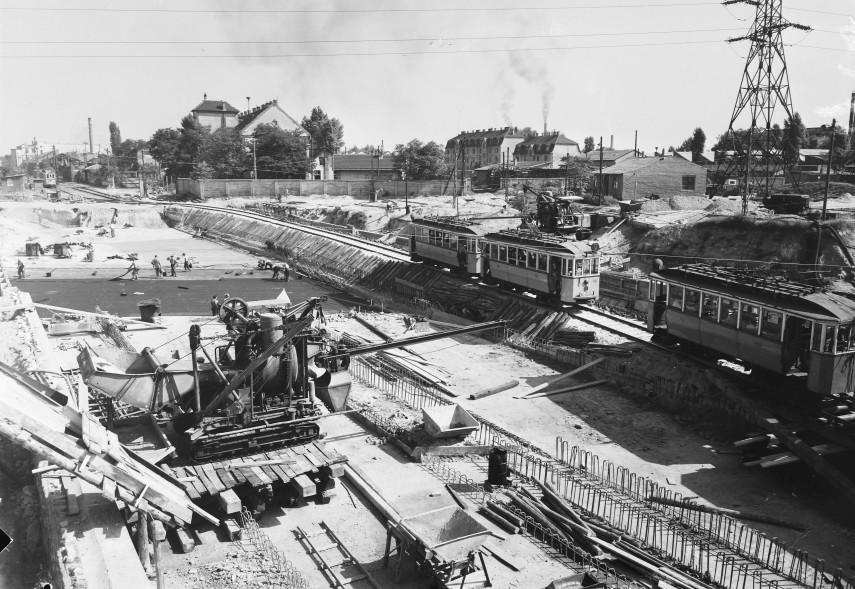 1955, Béke utca, a közúti aluljáró építkezése, 13. és 4. kerület
