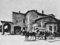 1880 táján, Váci út (Újpest), a Lóvasúti indóház végállomása, Újpest város, 4. kerület
