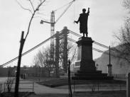 1963, Petőfi tér, az Erzsébet híd építése, 5. kerület