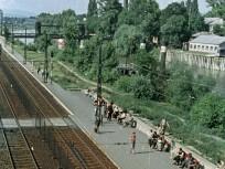 1963, a HÉV megállója az Árpád hídról nézve, jobbra a Hajógyári-sziget, 3. kerület